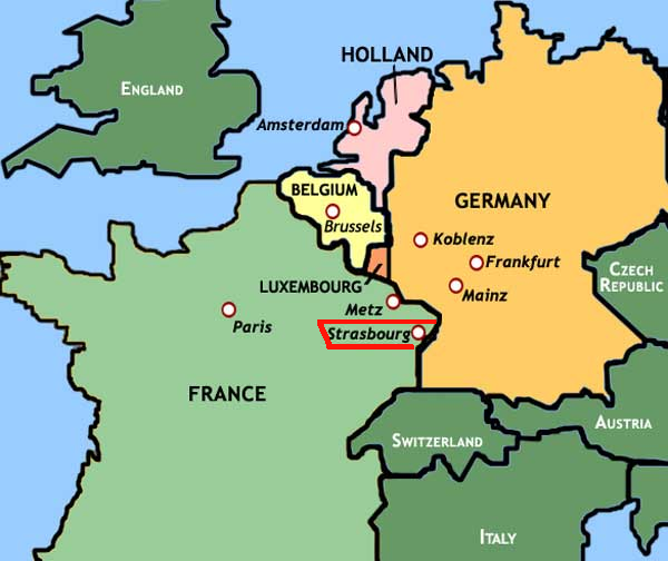 In Search Of French Past Student At The University Of - Strasbourg france map
