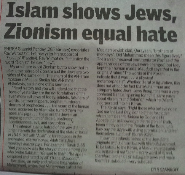 jew hatred letter new